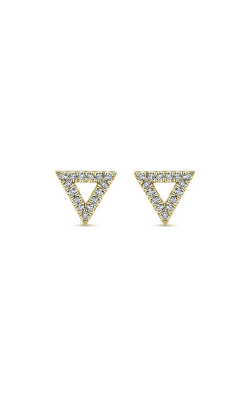 Gabriel & Co.: Lady's 14 Karat Yellow Gold Triangle Diamond Stud Earrings 150-1844 product image
