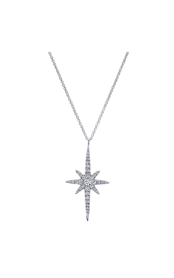 Gabriel & Co.: Lady's 14 Karat White Gold Star Burst Pendant 160-3158 product image