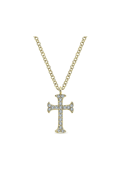 Gabriel & Co.:Lady's14 Karat Yellow Gold Diamond Cross Necklace 165-667 product image